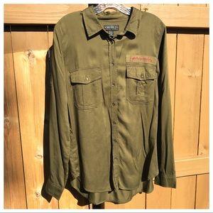 Forever 21 Life in Progress Military Green Shirt